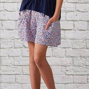 MATILDA JANE Lagoon Shorts Blue Red Floral Kids 12